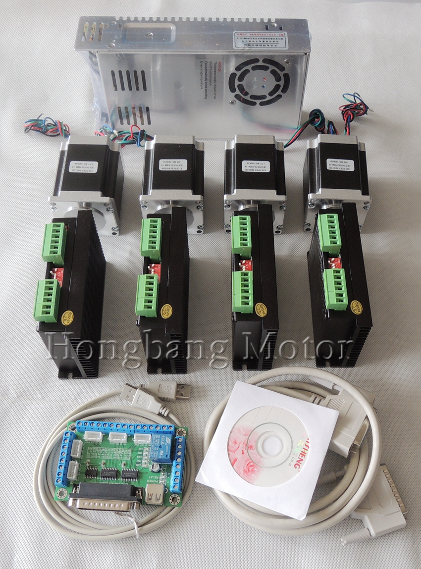Ship From EU, CNC Router 4 Axis Kit, 4pcs TB6600 Stepper Motor Driver+breakout Board+4pcs Nema23 270 Oz-in Motor+power Supply