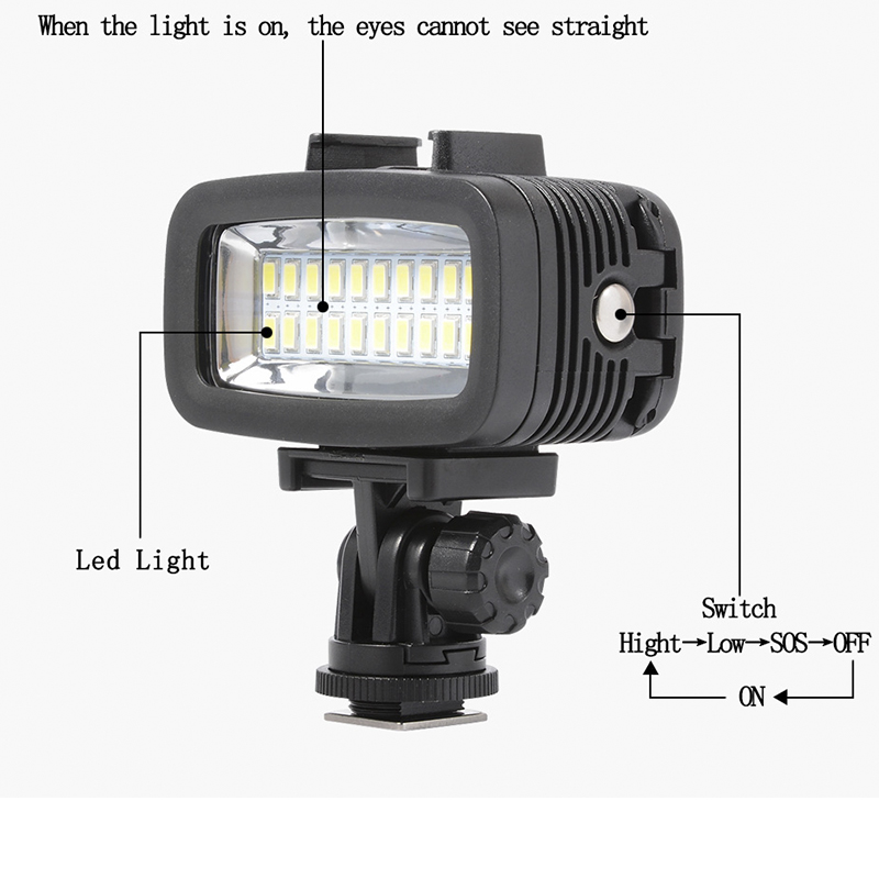 Image 4 - Orsda LED Flash Light Underwater Diving light Waterproof Video light Fill in Lamp For GoPro hero7 SJCAM SJ4000 H9 H9R xiaomi Yi-in Sports Camcorder Cases from Consumer Electronics