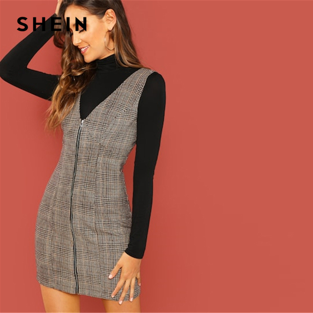 3fb2e821a44e9 US $17.0 40% OFF|SHEIN Weekend Casual Coffee Deep V Neck Zipper Up Fitted  Shell Sleeveless Sheath Plaid Dress Women Autumn Elegant Dress-in Dresses  ...