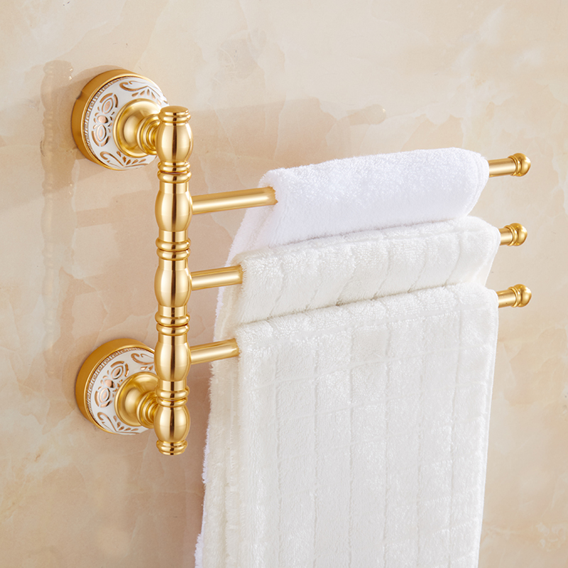 цена на Wall-mounted Towel Bar Rotating Towel Rack Bathroom Kitchen Towel Polished Rack Holder Hardware Bathroom Accessory