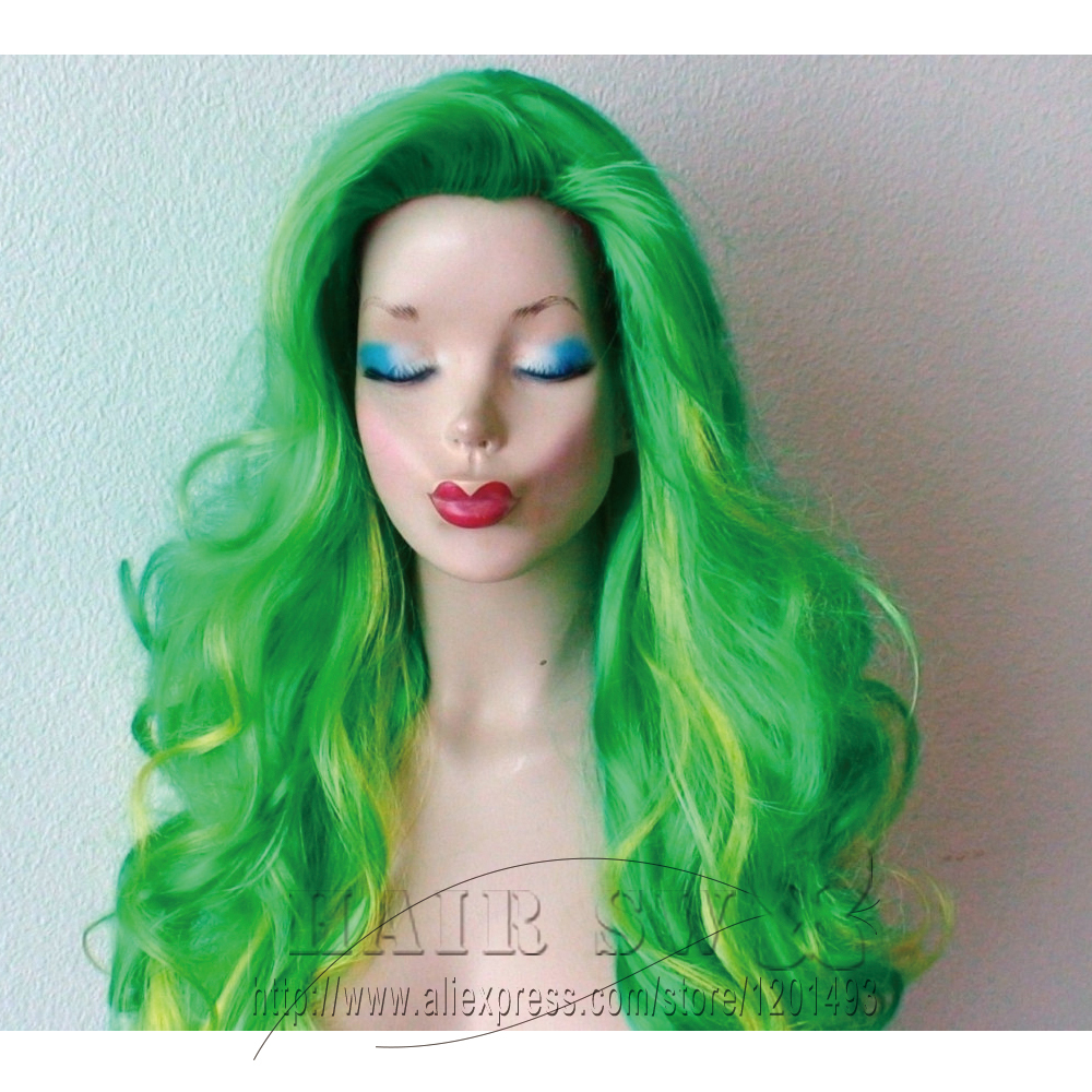 Green Ombre Wig Lady Gaga Hair Inspired Long Curly Irish Color Hair