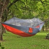 Outdoor Hanging Hammock With Mosquito Net Ultra Light Nylon Camping Aerial Tent Hammock Parachute Cloth hammock 260x140cm
