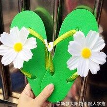 Original handmade sweet flowers flat shoes beach sandals slippers flip flops women slippers sunflowers