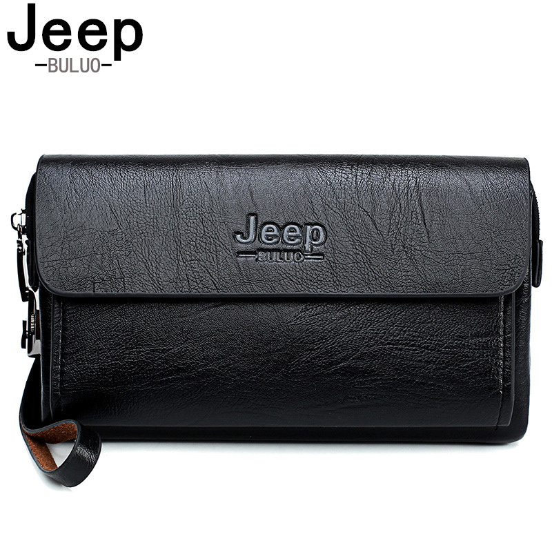 JEEP BULUO Famous Brand Men's Handbag Day Clutches Bags Luxury For Phone And Pen High Quality Spilt Leather Wallets Hand Bag
