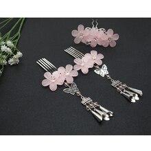 3pcs/set  Rhinestone Hairpins Wedding Hair Accessories Silver Pearl Flower Bridal Pins Ornaments Stick