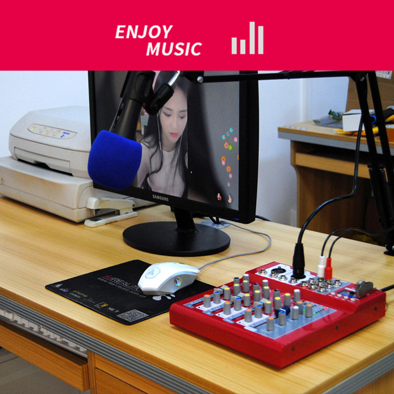 LEORY Professional Karaoke Microphone Audio Mixer Bluetooth 4 Channel Sound Mixing Console Amplifier 48V Phantom Power With USB