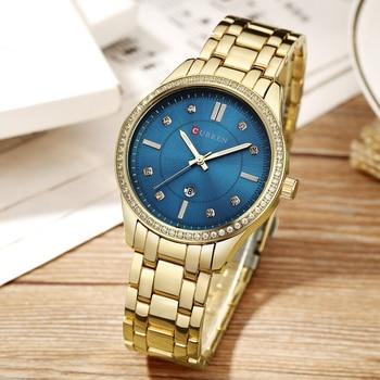 Curren 9010 Women Watches Top Brand Luxury Curren Quartz Ladeis Wristwatches Golden With Box