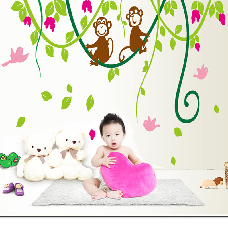 Art Wall Decal Warm Child Room Kids Monkey Tree Wall Poster Removable Quote Vinyl Wall Stickers Pegatinas De Pared  Home Decor