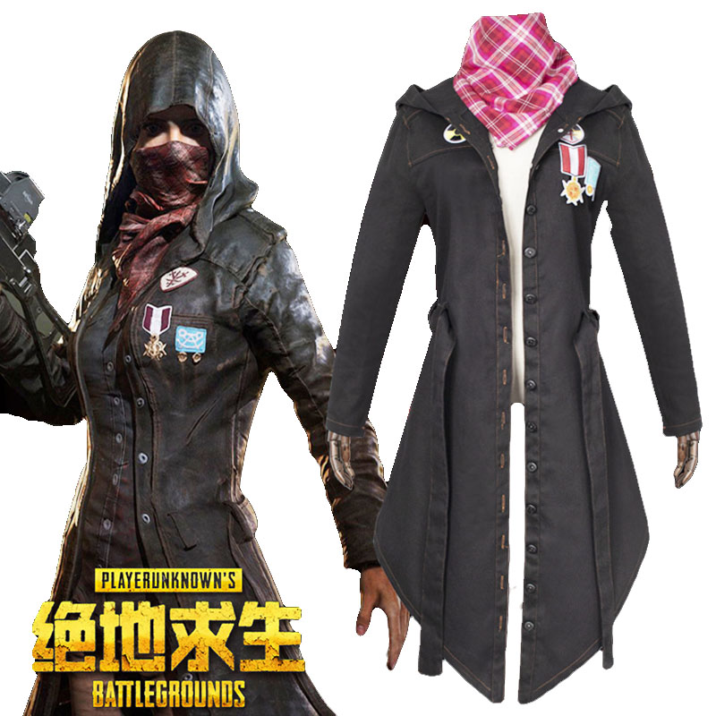 New Arrival Game PUBG Playerunknown's Battlegrounds Cosplay Costume Halloween Carnival Long Sleeve Trench Denim Cool Punk Jacket