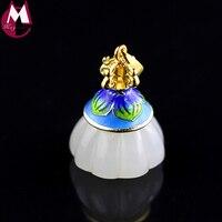 Original Design Jade Lotus Seedpod Pendant Silver 925 Jewelry Natural Gem Stone Necklace Pendant Handmade Fine Enamel Plant SP40