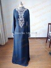 Clothing for Muslim Women 2015 New Fashion Real Picture A Line High Neck Abayas Dubai Abiye Evening Turkish Islamic Clothing