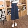 Falda de Jean Style Summer High Waist A-Line Denim faldas Casual botón frontal falda para larga falda vaquera S-2XL vaqueros