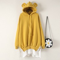 New Women Cute Bear Ear Loose Cape Hoodies Casual Hooded Yellow Sweatshirts Long Spring Autumn Plus Size Patchwork Tops