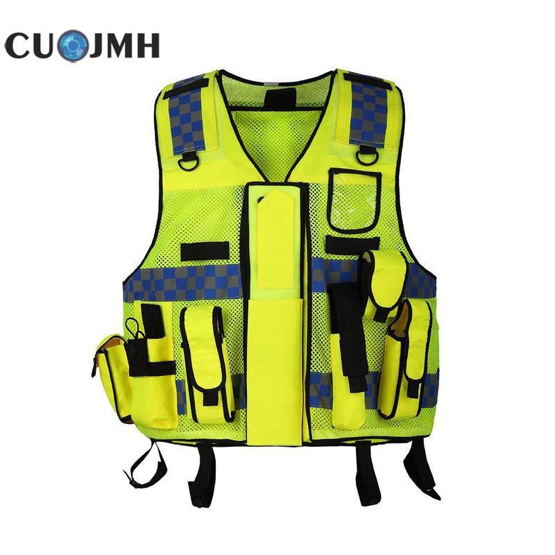 Functional Mesh Reflective Vest Multi pocket Road Safety Ventilation Vest Super Reflective Fluorescent Yellow Safety Vest