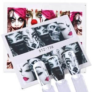 Image 4 - 24 stücke Kühlen Halloween Sliders Nail art Aufkleber DIY Wasser Temporäre Tattoos Clown Schädel Designs für Maniküre Decals CHSTZ731 755