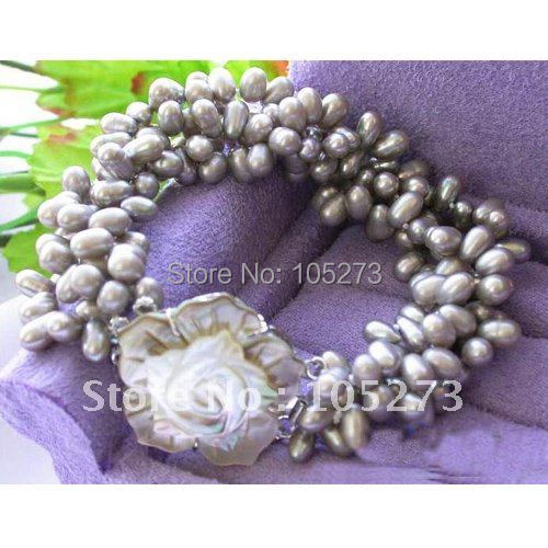 4ROWS AA 6MM-7MM GRAY COLOR RICE FRESHWATER CULTURED PEARL BRACELET BEAUTIFUL SEA SHELL FLOWER CLASP FREE SHIPPING FN1182