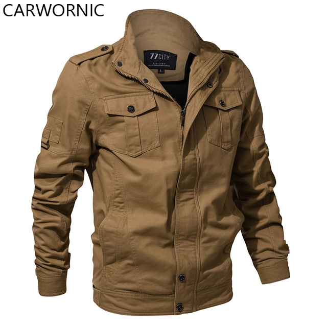 CARWORNIC Autumn Military Bomber Jacket Men Casual Cotton Outerwear Coats Windproof Air Force Tactical Jackets Two Chest Pockets