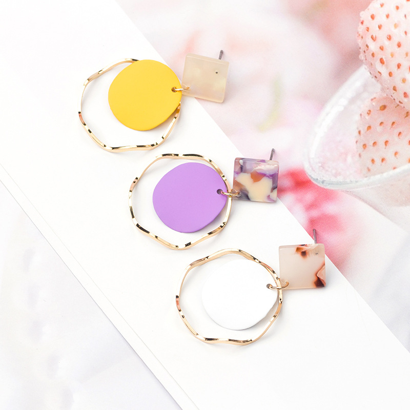 HelloMissSpring and summer new acetic acid candy color long metal ring earrings small fresh temperament earrings ladies earrings in Stud Earrings from Jewelry Accessories