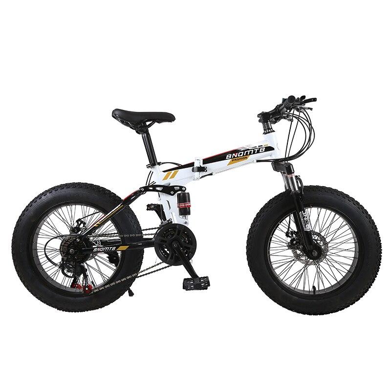 """Spor ve Eğlence'ten Bisiklet'de KUBEEN kar bisiklet katlama MTB 20 """"7 21 24 27 hız çift diskli dağ yağ bisiklet süspansiyon çelik çerçeve 4 """"lastik alüminyum jant title="""