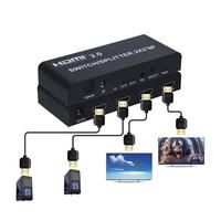 HDMI 2,0 переключатель/сплиттер 2x2 с оптическим R/L аудио поддержка 4 K/60Hz может уменьшить выход для 4 K и 1080 P одновременно