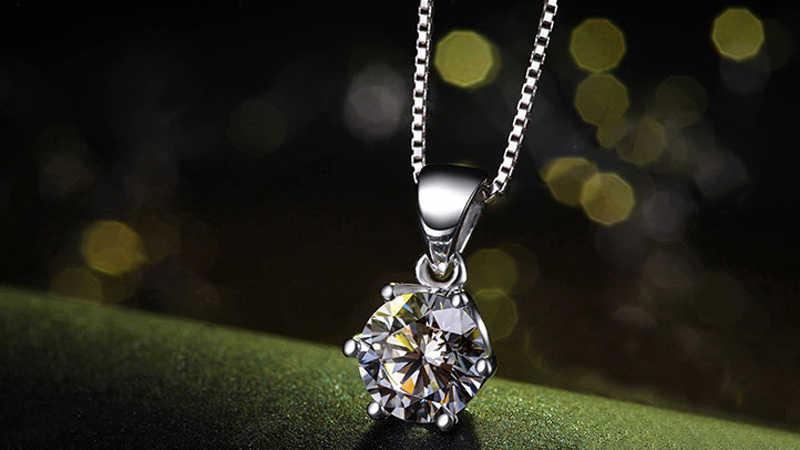 """Link """" pokaż dane kontaktowe """"certyfikat! 100% oryginalny 925 litego srebra naszyjnik Solitaire 6mm CZ cyrkon ślub naszyjnik łańcuch dla kobiet CN06"""