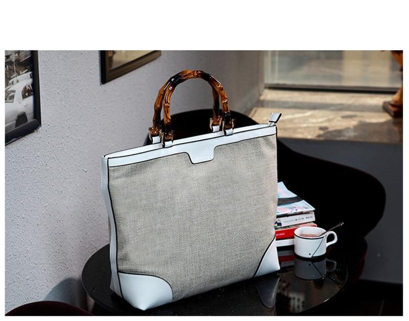 BARHEE Lederen Merk Designer Luxe Dames Handtas Bamboe Handvat Dames - Handtassen - Foto 4