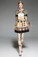 Hot Sale New Arrival Women Suit 3 Pieces Fashion Long Sleeve Top Knee Length Skrit Full Pants Print Sashes Slim Vintage Set