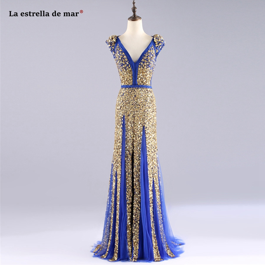 abendkleider lange krist new V neck cap sleeve front high slit luxury gold  royal blue mermaid long evening gown dresses