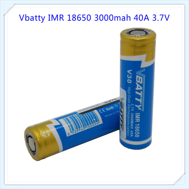 New Coming Wholesale price powerful battery Vbatty V30 IMR 18650 3000mah 40A 3.7V battery with flat top(2pcs a lot )