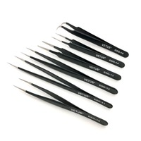 Pack of 6 VETUS ESD Series Electro Static Discharge Stainless Steel Tweezers Anti static Antimagnetic Repair Process Components