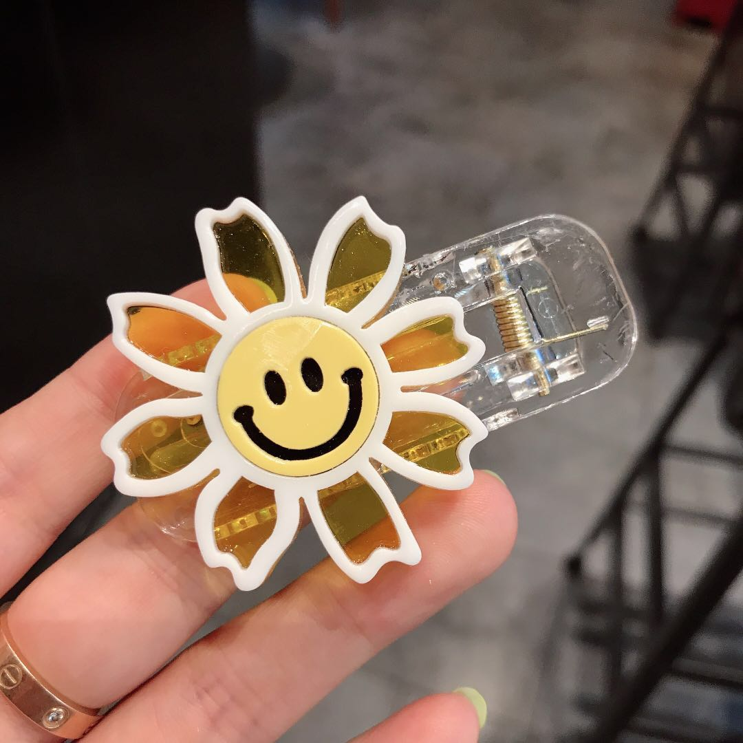 2019 New Resin Colored Smiled Face Sunflower Cute Hair Side Clip Female Easy Matched Hairpin Hair Accessories For Girl in Women 39 s Hair Accessories from Apparel Accessories
