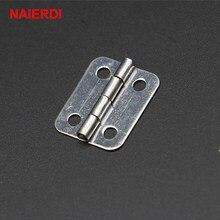 NAIERDI-Mini charnières argentées pour porte, tiroir d'armoire, boîte de bijoux, avec vis pour quincaillerie de meuble, 10 pièces, 25mm x 20mm