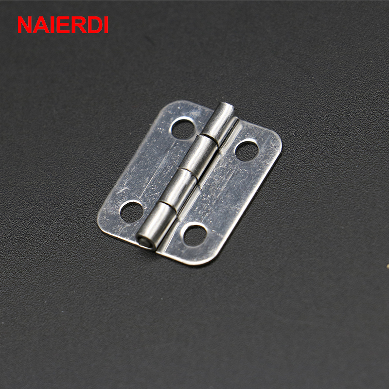 10pcs NAIERDI 25mm x 20mm Silver Mini Door Hinges Cabinet Drawer Jewellery Box Mini Hinge With Screws For Furniture Hardware brand naierdi 90 degree corner fold cabinet door hinges 90 angle hinge hardware for home kitchen bathroom cupboard with screws