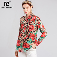 New Arrival 2019 Women's Bow Collar Long Sleeves Leopard Printed Floral Designer High Street Fashion Blouse Shirts