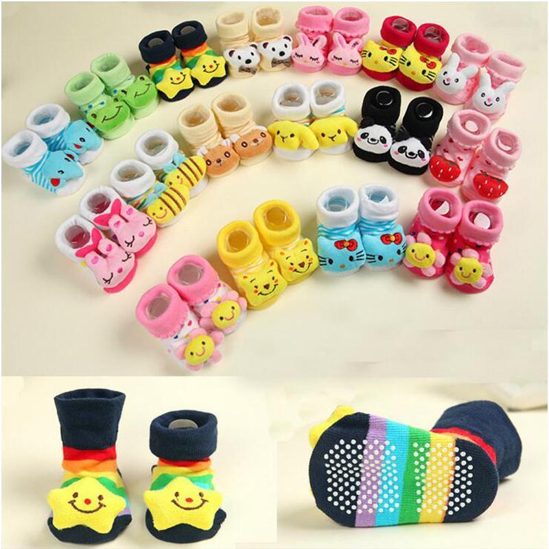 Cute Cartoon Animal Anti Slip Rubber Cotton Socks Walking Shoes F. Newborn Baby Infant Toddler Child Kids Girls Boys 0-18 Months