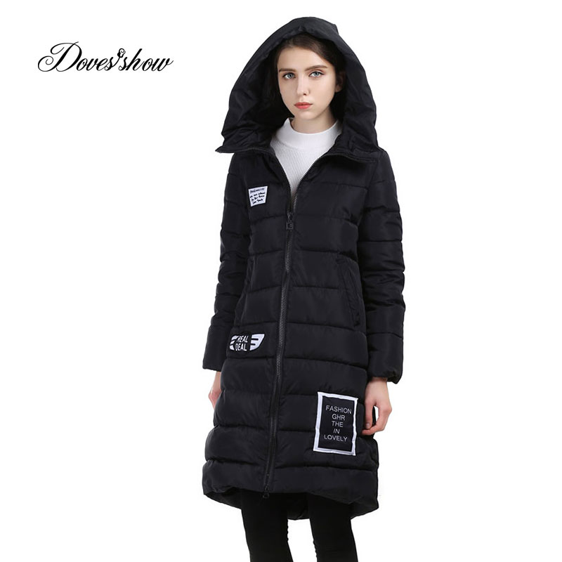 Female Winter Parkas Women Hooded Cotton-Padded Jacket Thick Winter Wadded Jacket Long Slim Women Winter Coats Outwear Parka new 2017 winter cotton coats women jacket stitching slim parkas hooded feather padded female long outerwear abrigos mujer 1056