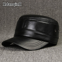XdanqinX Adjustable Size Womens Hat Genuine Leather Military Hats Mens Sheepskin Winter Male Bone Snapback Simple Dad Ca
