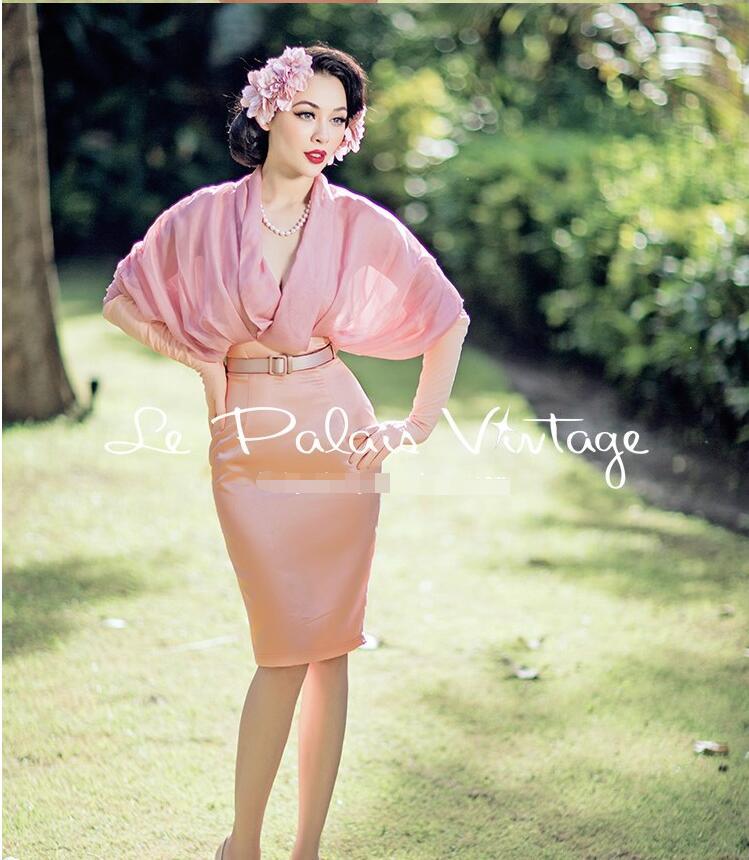 Mousseline D'été Chauve Mode Trompette Manches Rose Élégant De Robe En Slim sirène Vintage Soie souris Tempérament Couture Bqw7Rvw