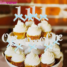 Happy Birthday Decoration Glitter Paper 1 cake Topper 1st First Birthday Boy Girl Party Kids Baby My One Year Birthday Supplies(China)