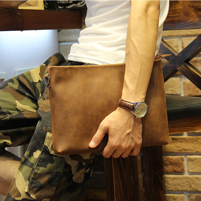 Badenroo 2017 New Male Bag Envelope Clutch Crazy Horse Leather Business Men Clutch Bags Casual Large Capacity Hand Bags For Male