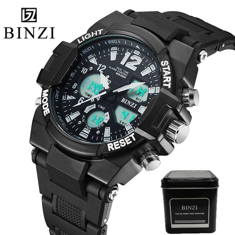 Men s Quartz Digital Watches Brand Sports Watches BINZI S Shock Relojes LED Military Waterproof Wristwatches