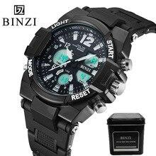 Hommes de quartz numérique montres marque sport montres binzi s choc montres led militaire montres étanches relogio masculino