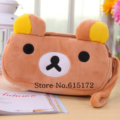 Kawaii Pencil Bag Cute Stationery School Supplies Rilakkuma Plush Pen Animal Bear Pouch Girl Kids birthday gift - Funny Bunny's Sweet Store store