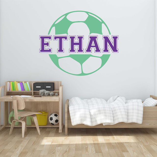 Personalized Name Football Wall Sticker Custom Name Wall Decal Football Sticker  Nursery Football Decal For Children Part 93