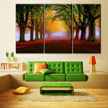 Canvas Painting One Set Modular 3 Piece Nature Landscape Autumn Park Tress Fog Picture Living Room Wall Art Decor Print Type 5 piece blue sky nature rocks road landscape picture top rated canvas print type wall decor valley of fire state park poster