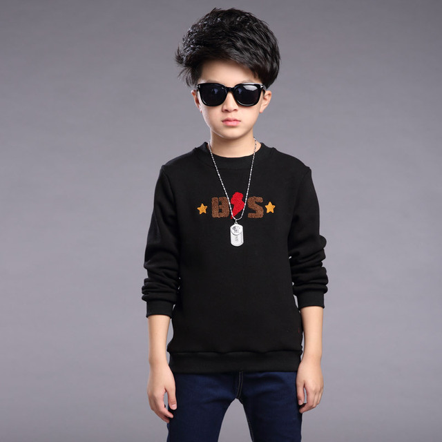 Children T-shirts For Boys New Design 2017 Spring Fashion Long-Sleeves Letter O-Neck Tops Tees Casual Cotton Children's Clothing