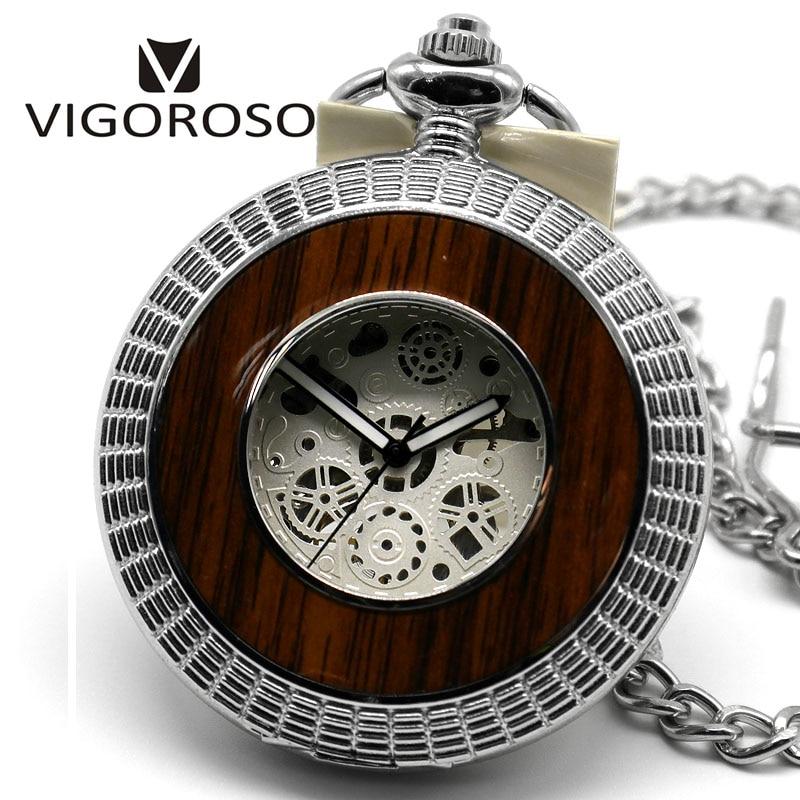 VIGOROSO Steampunk Skeleton Transparent Roman Mechanical Pocket Watch Relogio De Bolso Steel Fobs Long Chain Pendant Nurse Clock все цены