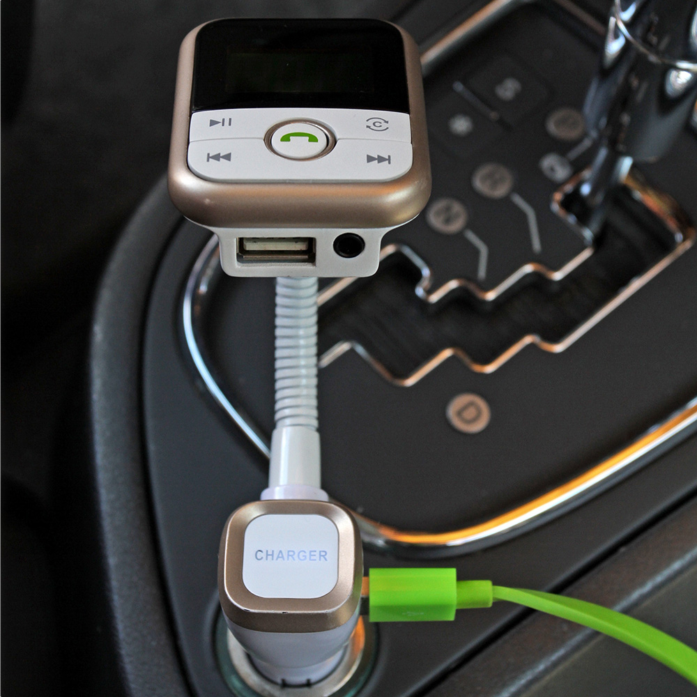 KKmoon 2.1A FM Transmitter Handsfree Bluetooth Car Kits USB SD Aux-in Phone Calling Music Player Car Chargers