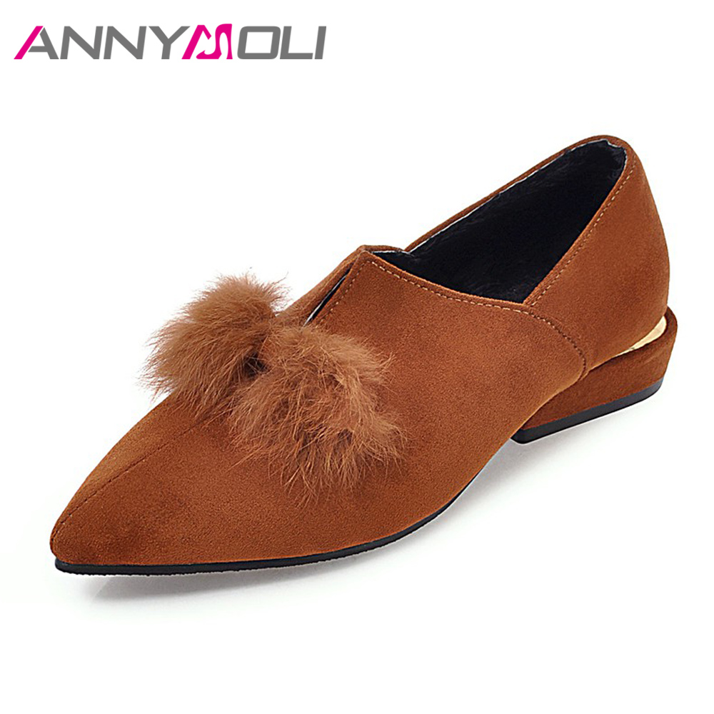 ANNYMOLI Flat Shoes Women 2018 Pointed Toe Slip On Real Fur Shoes Spring Flats Plus Size 9 42 43 Black Autumn Casual Shoes Brown beyarne spring summer women moccasins slip on women flats vintage shoes large size womens shoes flat pointed toe ladies shoes