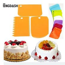 ENGDASH 3pcs/set Plastic Dough Icing Fondant Scraper Set Cake Decorating Cream Cut Knife Scrape for Kitchen